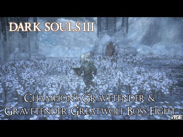 Dark Souls 3: Ashes of Ariandel - Champion's Gravetender Gravetender Greatwolf Boss Fight