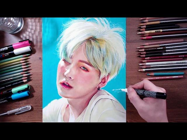 BTS : Suga - colored pencil drawing   drawholic