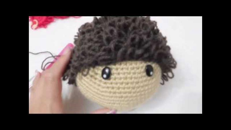 Muñeca Amigurumi colocar cabello chino a crochet (ZURDO) Video 3