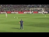 Messi practiced his free kick before the game