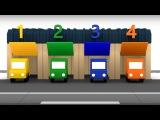 Spanish Cartoons. 4 coches coloreados. Maria y el Autobús número 5. Caricatura de carros para niños