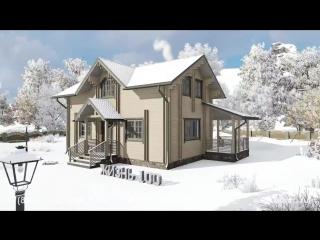 Красивый проект дома по технологии двойной брус - Жизнь-100