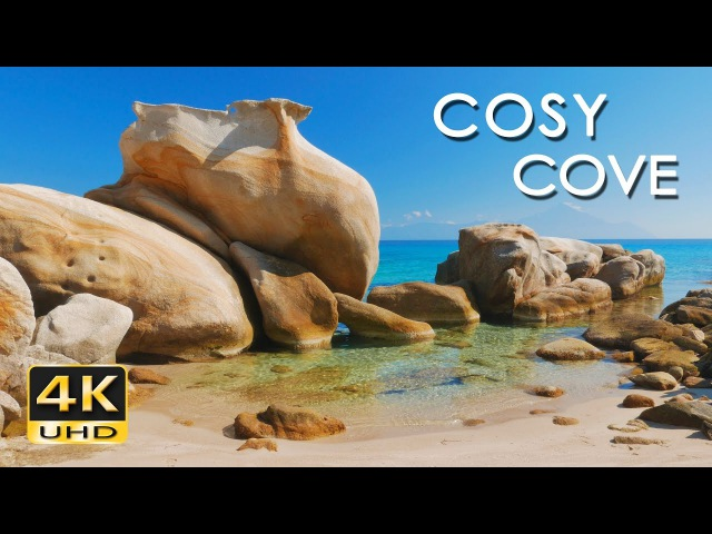 4K Cosy Cove - Gentle Lapping Waves - Relaxing Sea Ocean Sounds - Ultra HD Nature Video - 2160p