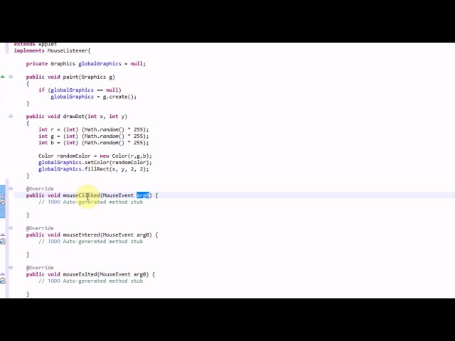 Learning Java: Part 19: Detecting Mouse Clicks in an Applet Using a MouseListener