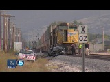 WATCH : Woman's Car Hit By 2 Trains During Police Chase And Survives(FULL VIDEO)