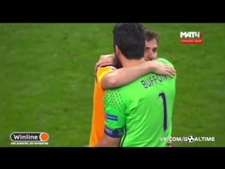 Буффон и Касильяс обменялись футболками после матча Порту - Ювентус.