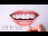 Step by Step How to draw color realistic lips and teeth with colored pencils Emmy Kalia