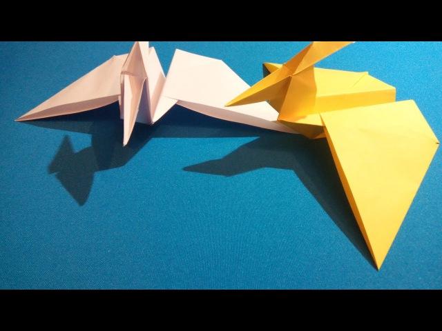 Птеродактиль из бумаги. Pterodactyl made of paper