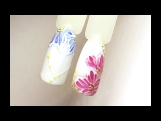 Дизайн ногтей гель-лаками: Цветы с битым стеклом