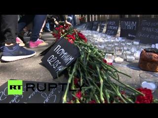 В Москве почтили память погибших при пожаре в Доме профсоюзов в Одессе