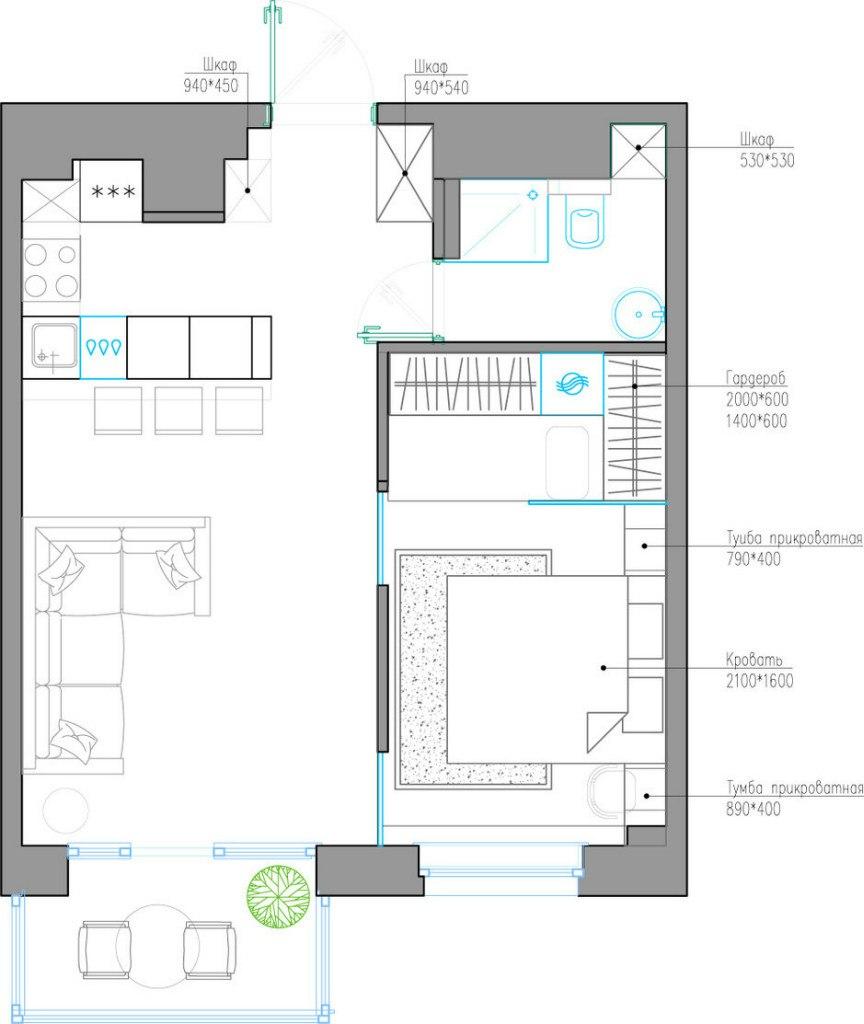 Проект квартиры 41 м.