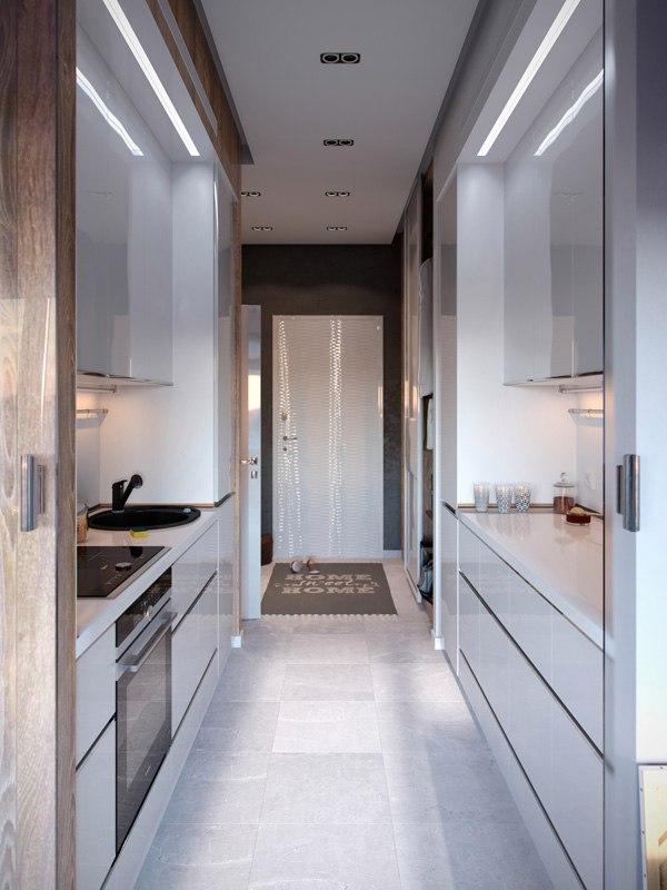 Концепт студии 30 м с разворотом кухни.