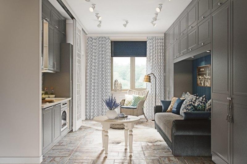 Концепт квадратной студии 32 м с разворотом кухни и маленькой спальней.