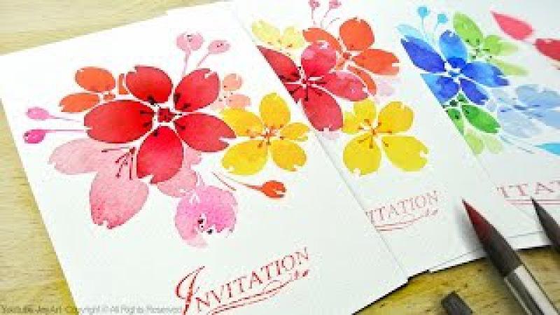 Watercolor Floral Invitations DIY Handmade Cards Level 2