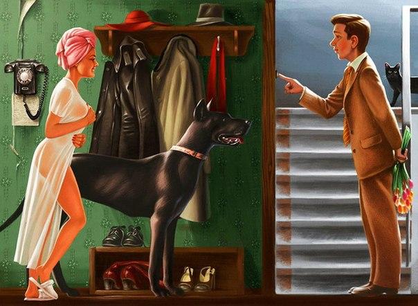 """Муж заметил, что жена слишком часто с кем-то по мобильному телефону разговаривает, решил проверить. Взял телефон — точно! То ей Виталик какой-то позвонит, то она Виталику... Непорядок! На следующий день говорит: """"Жена, уезжаю в командировку на три дня..."""