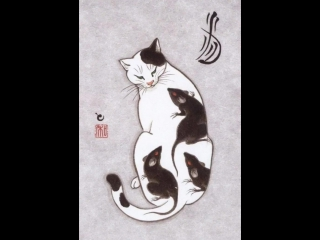 Cats Tattooing Each Other In Surreal Japanese Ink Wash Paintings (by Kazuaki Horitomo)