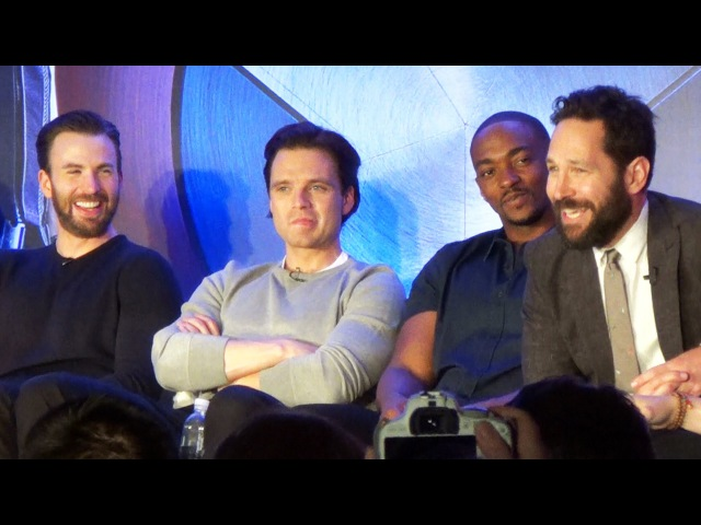 Captain America Civil War Team Cap Press Conference w Chris Evans, Kevin Feige, Paul Rudd