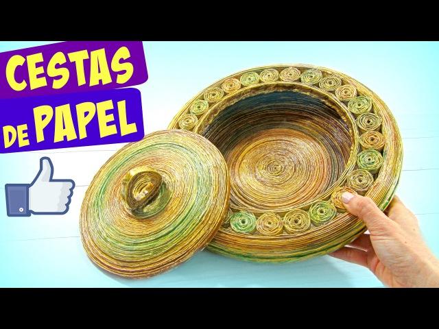 Cómo hacer cestas de papel periódico con tapa paso a paso