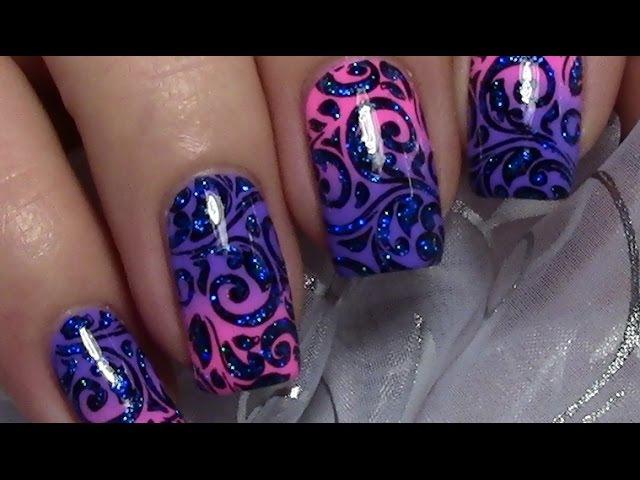 Schnörkel stamping Nageldesign mit Glitter / Nägel lackieren / Nail Art Design Tutorial