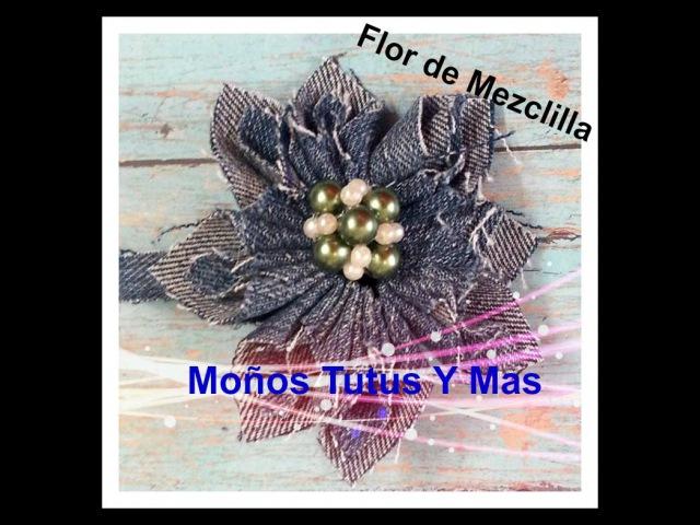 FLOR KANZASHI DE MEZCLILLA Paso a Paso KANZASHI JEANS FLOWER Tutorial DIY How To PAP Video 58