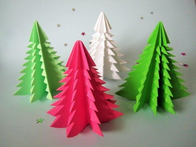 3D Weihnachtsbaum aus Papier in 5 Minuten falten DIY Papier