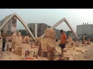 Блог VR 360. Выставка скульптур из дерева. Подготовка. Город Братск, 2016 год.