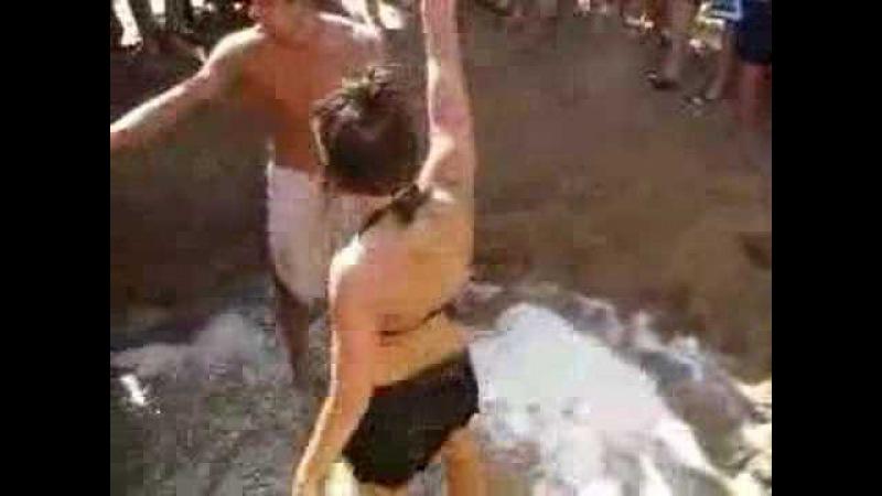 TWO HOT GIRLS WRESTLE CATFIGHT ON BEACH SKIMPY SKIRTS BIKINI