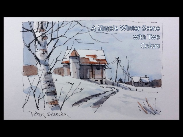 Draw and paint snow and shadows. Pen and Wash winter Barn. Just two colors. Peter Sheeler