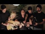 Пять человек играют на одной гитаре.Ok go.Somebody That I Used to Know