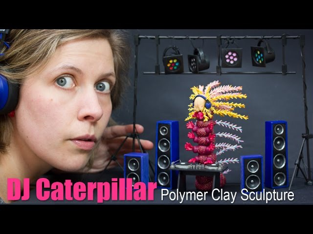 Polymer Clay DJ Set and Caterpillar Sculpture Turntable Speakers Art Time Lapse