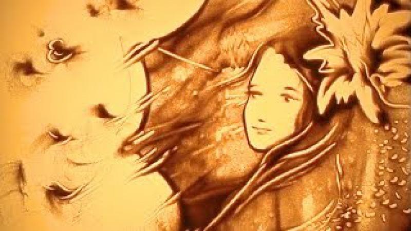 В городе осень. Песочная анимация Елены Жемиря