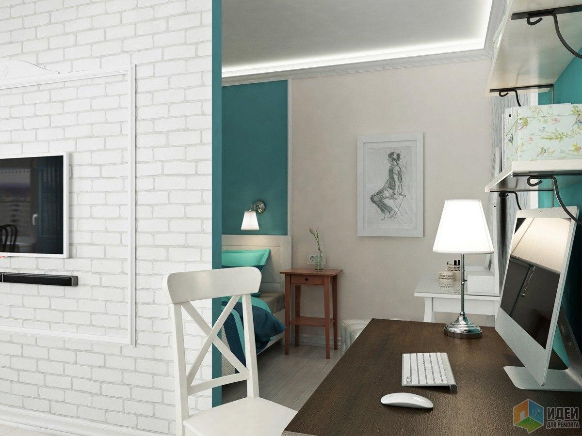 Проект студии с выделенной спальней из однокомнатной квартиры 42 м.
