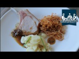 Pork cutlet with potato salad, watercress, roast onions and bone marrow sauce recipe