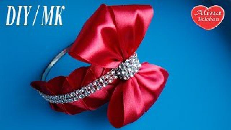 Милый ободок из атласных лент / БАНТ для волос / Cute bow hair / DIY