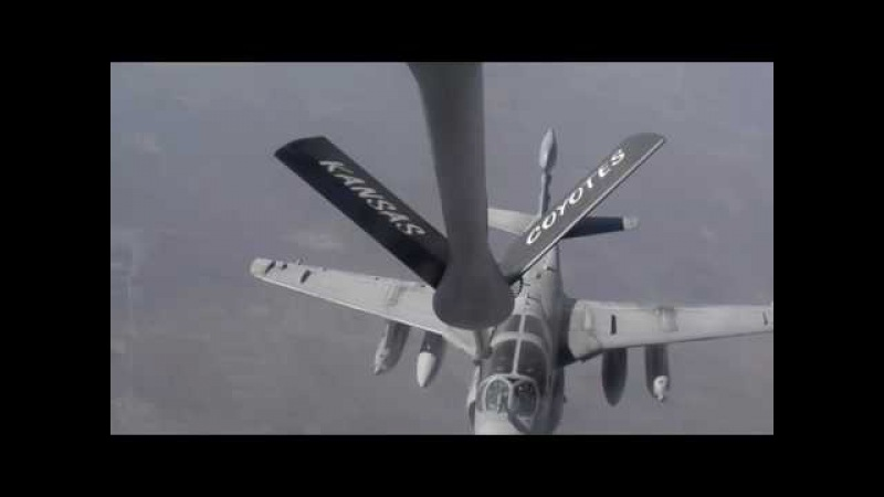 Delivery of Fuel From a Boeing KC-135 Stratotanker to a Grumman EA-6 Prowler