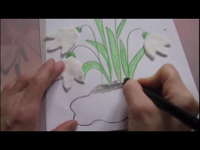 DIY:Делаем для мамы подснежники из ватных дисков на 8мартаПоделки с детьми\crafts with kids