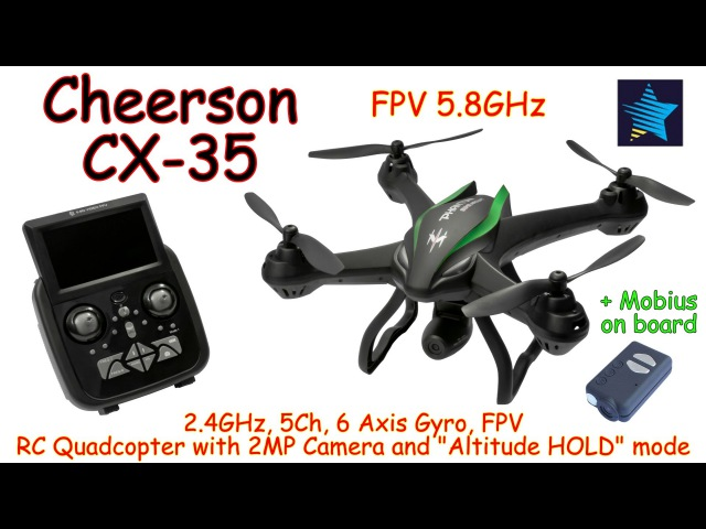 Cheerson CX-35 2.4GHz, 5Ch, 6 Axis, FPV 5.8GHz RC Quadcopter with 2MP Camera and Altitude HOLD (RTF)