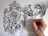 Бесплатный урок акриловой живописи.Рисуем в технике Рококо (Rocaille).Эскиз.Контурный рисунок.