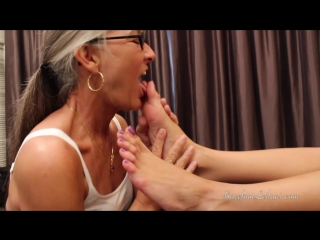 Old Lady sucks on Young Girl's feet