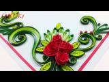 DIY Paper Quilling Flowers Cards Tutorial Art How to make Paper Quilling Rose Flower Card Ideas
