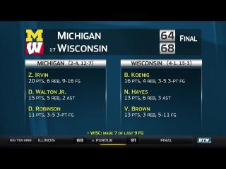 Michigan at Wisconsin - Mens Basketball Highlights.