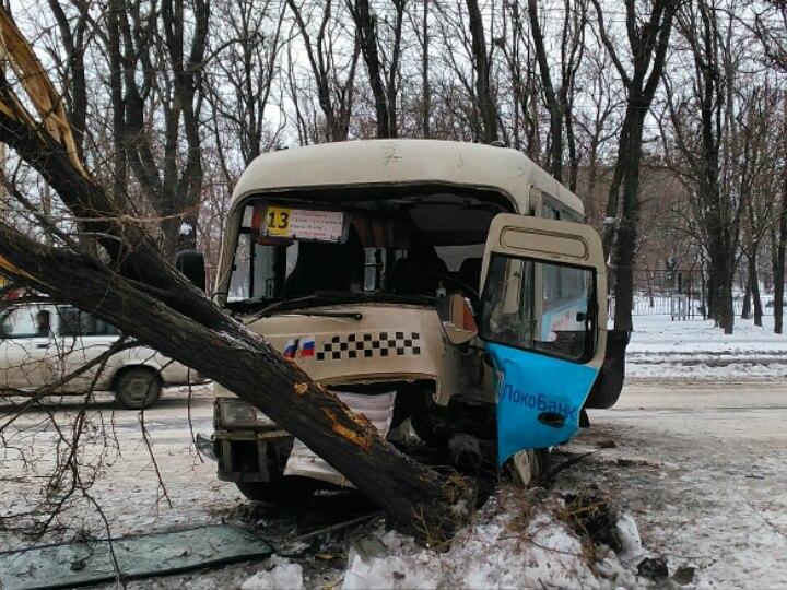 В Таганроге из-за потери сознания водителем маршрутка №13 врезалась в дерево