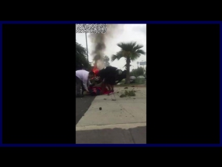 Citizen pulls man from burning car