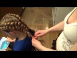 Плетение косичек.Две французские косы наоборот.Hairstyle.Double Franch Braids.