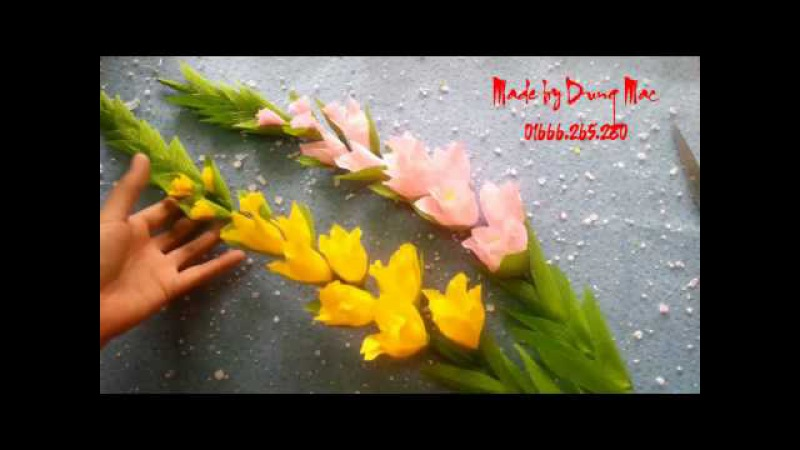 How to make Gladiolus Crepe paper Flowers   handmade by Dzung Mac