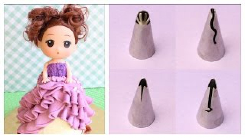 Testing Ruffle Piping Tips - Russian Piping Tips - Decorating a mini doll cake with new ruffle tips