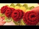 Aprende a tejer a Crochet diademas con rosas de una sola tira con hojas Learn Crochet