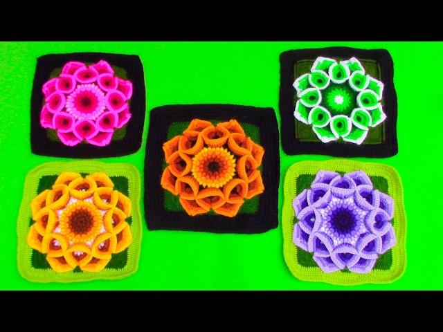 Cuadrado a muestra de flor a crochet para colchas en punto garbanzos y puntos altos