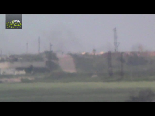 Syrian T-90 tank keeps moving after rebel TOW ATGM strike in Hama 23/4/2017