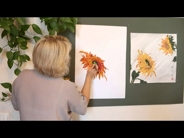 ВИДЕО урок для начинающих. Живопись с Натали Котовой. ПОДСОЛНУХ.